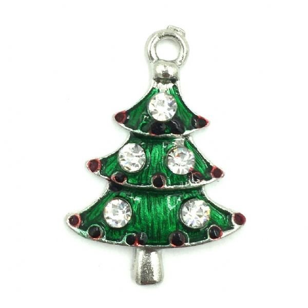 Christmas charm - rhodium plated - green xmas tree enamel with crystals - 20mm x 25mm